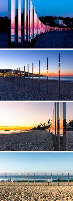 A Quarter Mile of Reflective Poles Mirror the Changing Tides Light Installation, Interactive Installation, Landscape Architecture, Landscape Art, Installation Architecture, Architecture Design, Exhibition Space, Stage Design, Light Art
