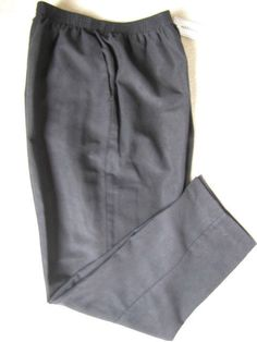 Alfred Dunner Black Faux Suede Pull On Pants Sz 14 Elastic Waist Ret $46 #AlfredDunner #PullOnElasticWaistband