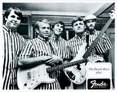 The Beach Boys- Brian Wilson, Al Jardine, Dennis Wilson, Carl Wilson, Mike Love. Bass Guitar Case, Acoustic Bass Guitar, Carl Wilson, Dennis Wilson, Guitar Tips, Guitar Lessons, Vintage Advertisements, Vintage Ads, Fender Vintage