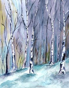 "Landscape Painting Watercolor. Title: "" Birches In The Forest "" by Brenda Owen"