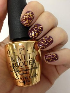 "OPI 18 karat gold leaf top coat ""The Man with the Golden Gun"" Inspired by the world of 007, this stunning top coat contains real 18 karat gold. Available this October"