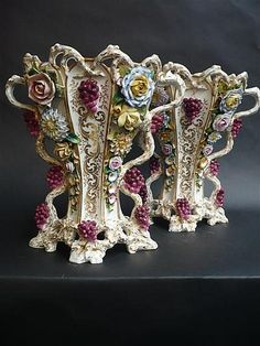 Pair of C19th Jacob Petit Floral Encrusted Vases