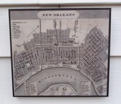 Old New Orleans 1800's city map. Check out all my novelty signs at the Fringe Walkers Studio Etsy store. https://www.etsy.com/listing/227854847/primitive-new-orleans-city-map-from-1828