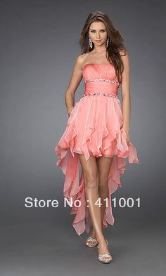 Classic Style Strapless Stock High-Low Chiffon Coral Pink Tassels PARTY COCKTAIL HOMECOMING BRIDESMAID DRESSES XS S-2XL 3XL US $59.00