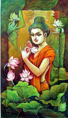 Budha Painting, Kerala Mural Painting, Krishna Painting, Madhubani Painting, Indian Art Paintings, Lotus Painting, Buddha Artwork, Little Buddha, Madhubani Art