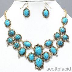 """CHUNKY BLUE TURQUOISE ACRYLIC GOLD TONE NECKLACE SET    * If you need a necklace extender I have them for sale in my store.*        NECKLACE: 17"""" + 2"""" EXT    CHARM: 4"""" LONG    LOBSTER CLAW CLOSURE       HOOK EARRINGS: 1"""" LONG           COLOR: GOLD TONE $21.99"""