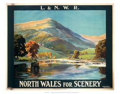 London and North Western Railway poster showing a Welsh lake and mountain. Artwork by A G Petherbridge Canvas Print Framed, Poster, Canvas Prints, Puzzles, Photo Gifts and Wall Art Westerns, Poster Size Prints, Art Prints, Framed Prints, National Railway Museum, Railway Posters, Posters Uk, Retro Poster, Nostalgia