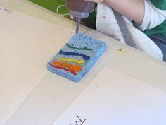 Rainbow Sponge - squeeze paint onto sponge then make rainbow...strengthening, crossing midline, bilateral coordination.