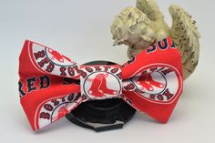 Red Sox Printed Dog Collar Bow Tie Attachment by HaleysPetBoutique.etsy.com
