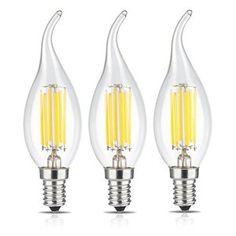 TAMAYKIM C35 6W Ampoule Filament LED – 4000K Blanc Neutre 600lm – 6 Watts Consommés – Équivalent 60W – Culot E14 – Forme Flamme – Angle de…