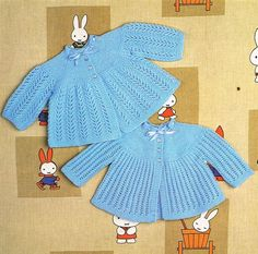 two designs baby matinee coat vintage knitting by Ellisadine
