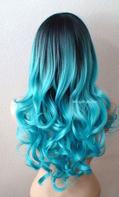 Pastel wig. Ombre wig. Teal blue wig. Long curly hair by kekeshop