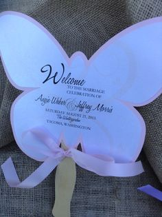 Butterfly Shaped Wedding Fan Favor Program by uniquelyyourspd, $3.85