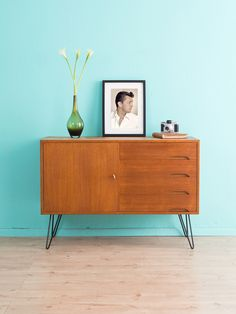 teak kommode sideboard 50er vintage 60er von mid. Black Bedroom Furniture Sets. Home Design Ideas
