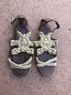 2b328db1d3ea brown leather sandals 8.5 Tory Burch With Crochet Details  fashion   clothing  shoes