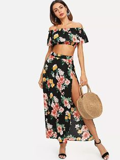 Off Shoulder Floral Print Crop Top & Split Skirt Set -SheIn(Sheinside)