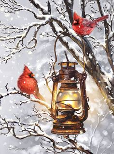Beautiful, winter cardinal pair house flag, depicting a snowy nature scene with two, bright red cardinals perched on a snow covered branch. Christmas Bird, Christmas Scenes, Christmas Pictures, Vintage Christmas, Pretty Birds, Beautiful Birds, Cardinal Birds, House Flags, Christmas Paintings
