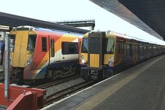 This picture shows both original (left) with and modified (right) South West Trains Class 458 Juniper emus. South West Trains, Emu, Picture Show, Westerns, The Originals, Pictures, Resim, Clip Art