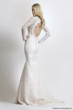 Costarellos bridal 2014 long sleeve beauvillain lace wedding dress with keyhole back and long sleeves.