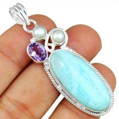 Larimar & Pearl  925 Sterling Silver Pendant Allison Co Jewelry Sp-1957 #Allisonsilverco
