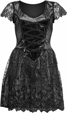 Mid-length gothic girls dress by Sinister clothing, with black lace and satin details.