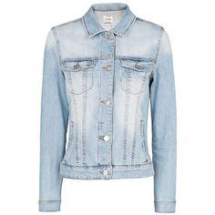 MANGO Light wash denim jacket ($50) ❤ liked on Polyvore featuring outerwear, jackets, coats, tops, denim jackets, light denim, button jacket, long sleeve denim jacket, jean jacket and blue jackets