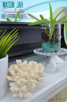 Masom Jar Succulents and Spring Mantel