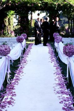 wedding ceremony, wedding aisle, aisle with petals, purple wedding Wedding Bells, Wedding Ceremony, Our Wedding, Dream Wedding, Trendy Wedding, Purple And Silver Wedding, Outdoor Ceremony, Wedding Church, Wedding Stuff