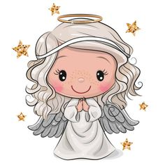 Illustration about Cute Cartoon Christmas angel isolated on white background. Illustration of decoration, girl, religion - 163746933 Cartoon Cartoon, Angel Cartoon, Cartoon Girls, Angel Clipart, Angel Vector, Cartoon Mignon, Art Mignon, Angel Drawing, Christmas Clipart