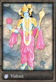"""Vishnu, também grafado Vixenu e Vixnu(em hindi विष्णु, transl. Vishnu, da raiz sânscrita vishva, """"tudo""""), é o deus responsável pela manutenção do universo. Juntamente com Xiva (Shiva) e Brama (Brahma), forma a trimúrti, a trindade sagrada do hinduísmo."""