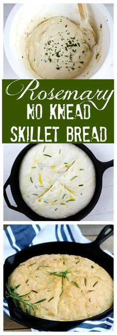 Rosemary No Knead Skillet Bread - Delicious and easy, this loaf bakes up quickly. Fresh, simple olive oil, rosemary and seasoning for the perfect rise and bake yeast bread in a skillet. (Bread Recipes No Knead) Iron Skillet Recipes, Cast Iron Recipes, New Recipes, Cooking Recipes, Favorite Recipes, Healthy Recipes, Cocina Light, Skillet Bread, Skillet Cooking