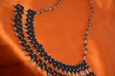 Black & Silver Bead Woven Necklace by TheVelvetMannequin on Etsy, $25.00