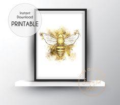 Watercolour Bee Art Printable Print - Printable Wall Art Bee Art, Printable Wall Art, Art Prints, Watercolour, Worker Bee, Bedroom Ideas, Bedroom Decor, Gallery Wall, Modern Art