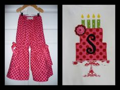 OUTFIT - Vintage style PANTS and Birthday TOP - Heather Bailey - Nicey - Pick the size Newborn up to 8 Years by Boutique Mia