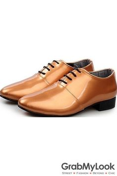 GrabMyLook Gold Brown Metallic Glossy Patent Leather  Lace Up Point Head Mens Oxfords Shoes