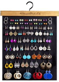 ATTENTION! Metal wreath stand is not included with organizer! . Tired of missing, messy, unorganized earrings? GlamourGrid.com is the answer! It is the latest invention in earring organization and display products. It features a 19 inch by 17 inch polyester fabric with an applied finish