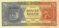 Czechoslovakia-P21s-20 Korun-1926-donatedgvf_f Financial Markets, European Countries, Czech Republic, Vintage World Maps, Fans, Retro, Historia, Money, Nostalgia