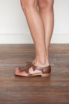 {Jeffrey Campbell. Brown/Pink Kelley Oxford} delightful fringe & cut-outs! NEED THESE