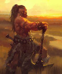 m Barbarian Battle Axe Sword wilderness hills forest