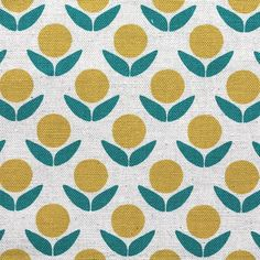 Kokka Japanese Fabric Stamped Ellen Luckett Baker - Circle Flowers - yellow - fat quarter on Etsy, $4.70