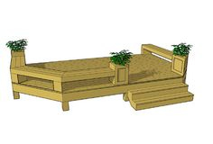 Cute and smaller 1 level deck with built in benches.  You can download it for free today at our site.