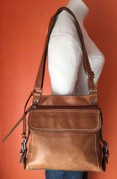 FOSSIL Tan Brown Leather Medium Tote Hobo Shoulder Cross Body Purse Bag #Fossil #ShoulderBag