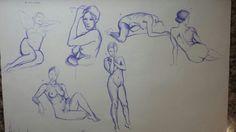Sesión al natural (7 minutos por pose). Bolígrafo. 5 de junio 2015