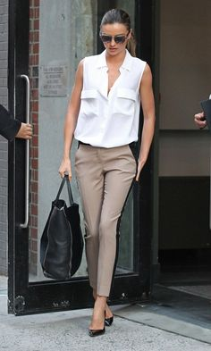 Classy! Miranda Kerr - GlamAsia Love the tuxedo pants and large bag, so simple and yet so classy.
