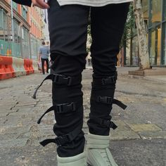 #Grouture Black Strapped Denim Jeans Mens. #StreetStyle #Fashion #Modern