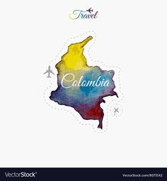 Travel around the world Colombia Watercolor map vector image on VectorStock Cali Colombia, Map Vector, Vector Free, Travel Around The World, Around The Worlds, Watercolor Map, Future Tattoos, Tattoo Drawings, Small Tattoos