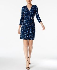 Calvin Klein Printed Faux-Wrap Dress, Regular & Petite Sizes - Blue 10P