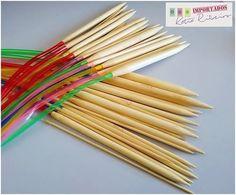 Kit C/ 18 Agulhas de Trico Circulares de Bambu