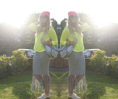 Top blogger, Rainbows and fairy dust shows how to DIY your maxi dress this summer #DIY #boohooDIY #neon #blogger #fblogger #beanie #tassels #festivalseason