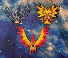 Pokemon Legendary Birds Perlers- Zapdos, Moltres, and Articuno Pokemon Perler Beads, Diy Perler Beads, Perler Bead Art, Pearler Beads, Pokemon Legendary Birds, Pixel Art, Pikachu Costume, Mythical Pokemon, Art Perle